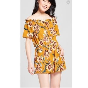 Xhilaration Yellow Floral Off the Shoulder Romper